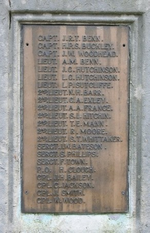 (1) War Memorial: detail, panel no 1