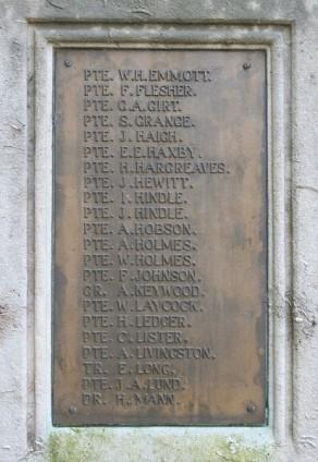 (1) War Memorial: detail, panel no 3