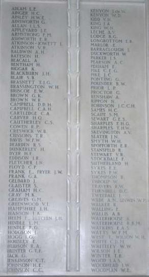 (1) School Chapel: marble memorial tablet - detail