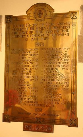 (2a) St Mary's Church: engraved brass memorial plaque
