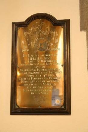 (2b) St Mary's Church: brass memorial plaque on oak surround (Gerald Kirk)
